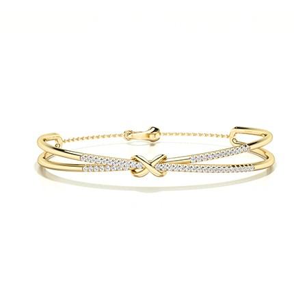 Bracelet de soirée diamant rond serti griffes