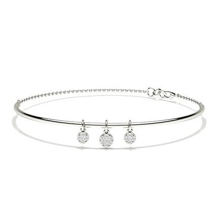 Bracelet jonc diamant rond à pression