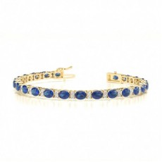 Ovales Tennisarmband in 4 Krappenfassung mit blauem Saphir