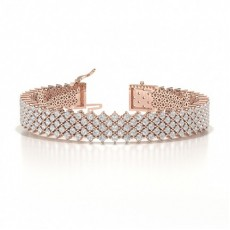 4 Bracciale Di Design Con Diamanti Rotondi Con Montatura A Griffe