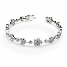3 Prong & Full Bezel Setting Round Diamond Designer Bracelet
