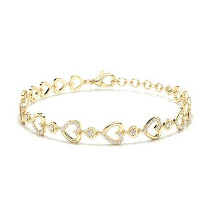 Plate Prong Setting Round Diamond Everyday Bracelet