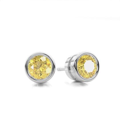 Bezel Set Yellow Diamond Stud Earring