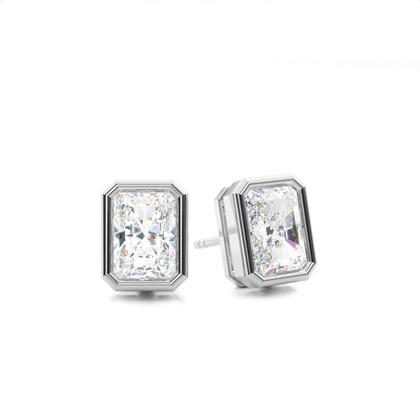 Pendientes De Diamantes Redondos De Oro Blanco