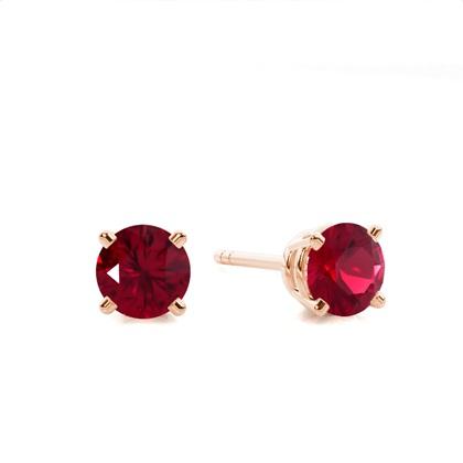 Rose Gold Ruby Earrings
