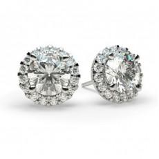 Round Halo Earrings