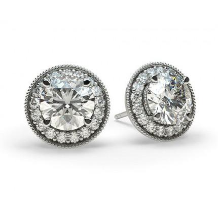 Vitguld Briljant Diamant Halo Örhängen