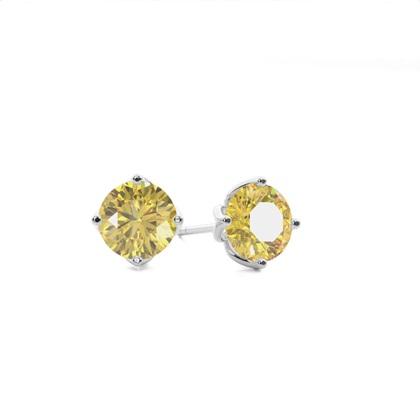 Prong Set Yellow Diamond Stud Earring