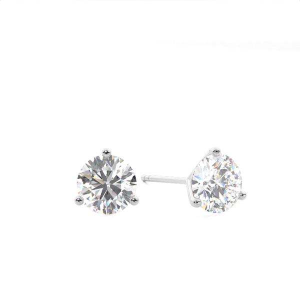 White Gold Round Diamond Stud Earrings