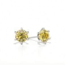 6 Prong Yellow Diamond Stud Earring