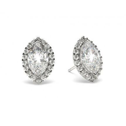 White Gold Marquise Diamond Halo Earrings