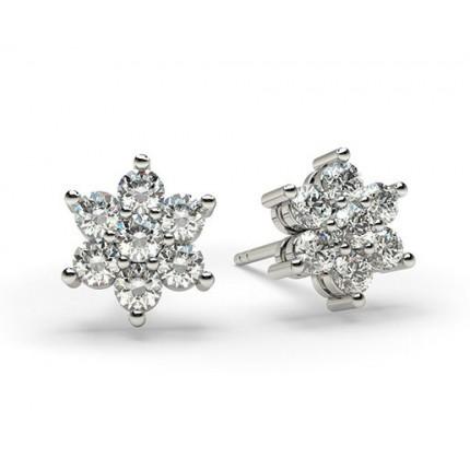 Vitguld Briljant Diamant Klusterörhängen