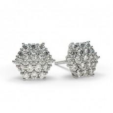 White Gold Cluster Diamond Earrings