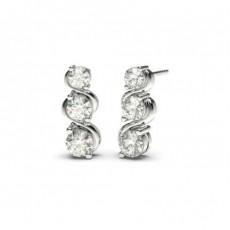 Round Drop Diamond Earrings