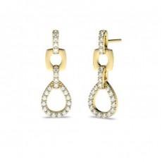 Yellow Gold Drop Diamond Earrings