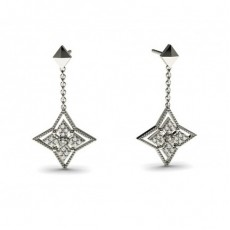 0.15ct. 4 Prong & Pave Setting Round Diamond Delicate Earrings