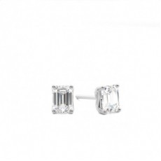 4 Prong Setting Emerald Diamond Stud Earrings