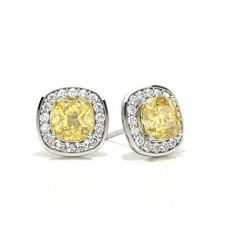 White Gold Cushion Yellow Diamond Halo Earring