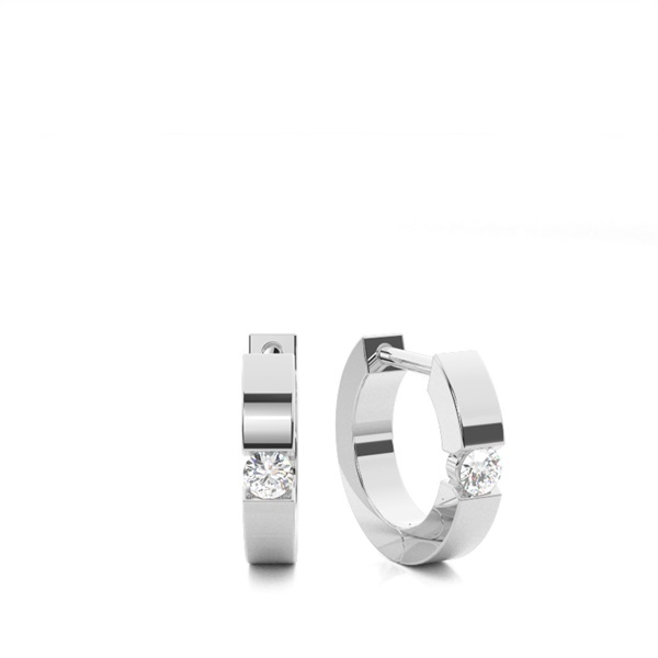Vitguld Briljant Diamant Hoop Örhängen