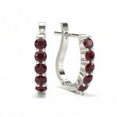 Silver Ruby Diamond Earrings