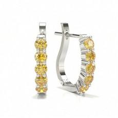 Prong Set Yellow Diamond Hoop Earring