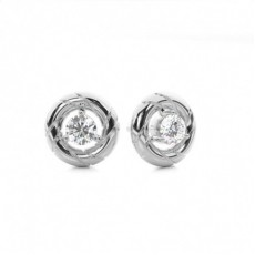 3 Prong Setting Round Diamond Stud Earrings
