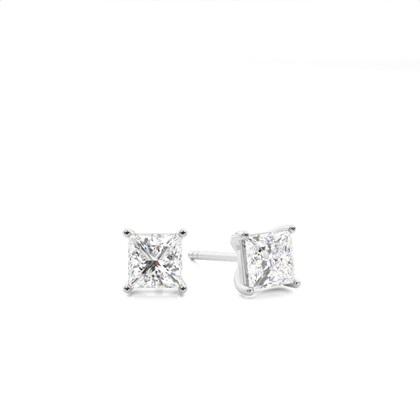 4 Prong Setting Princess Diamond Stud Earrings