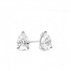 3 Prong Setting Pear Diamond Stud Earrings