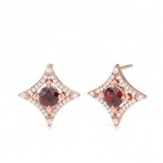 Rose Gold Gemstone Diamond Earrings
