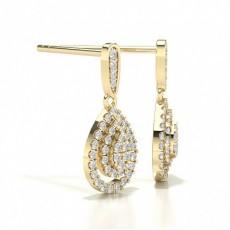 Yellow Gold Cluster Diamond Earrings