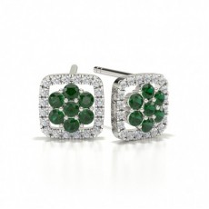 Rotondo Orecchini con smeraldo