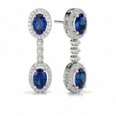 Oval Drop Diamond Earrings