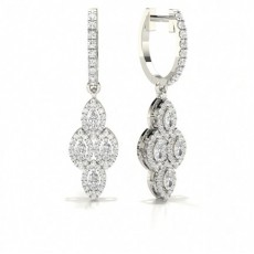 2 Prong Setting Round Diamond Hoop Earrings