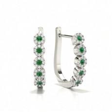 Emerald stone Round Diamond Hoop Earring