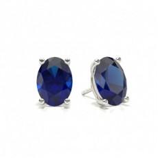 4 Zinkeneinstellung Ovaler blauer Saphir-Ohrstecker