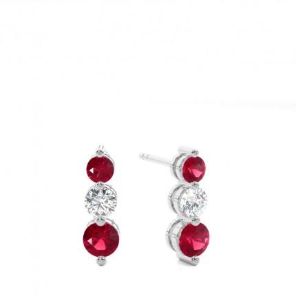 2 Prong Setting Ruby Drop Earrings