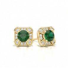 Gult Gull Smaragd Diamant Øredobber