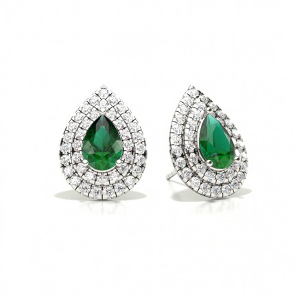 Prong Setting Pear Emerald Halo Stud Earring