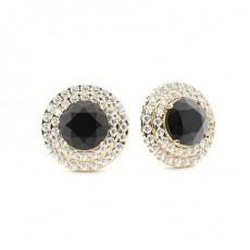 Yellow Gold Black Diamond Earrings