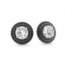 White Gold Black Diamond Earrings
