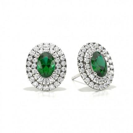 Klofattning Ovala Smaragd Halo Stud Örhängen