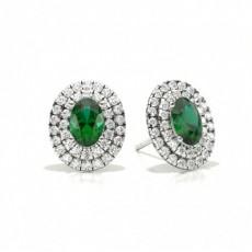 Prong Setting Oval Emerald Halo Stud Earring