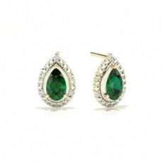 Birnen-Smaragd-Halo-Ohrring mit 3 Zinken