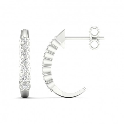 Illusion Prong Setting Round Hoop Diamond Earrings