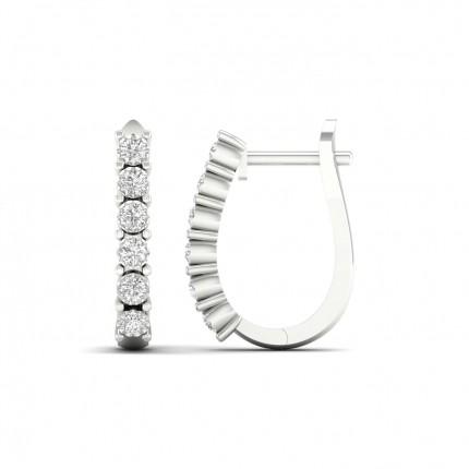Boucles d'oreilles créoles diamant rond serti illusion 0.52ct