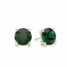 Prong Setting Pear Emerald Stud Earring