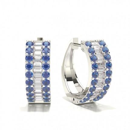 Zinkeneinstellung Rund und Baguette Blue Sapphire Hoop Earring