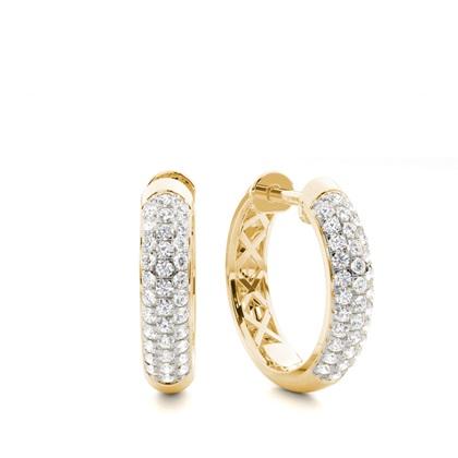 Aretes Tipo Argolla De Diamantes Redondos Con Micro Montura