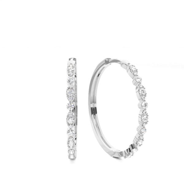 Zinkeneinstellung runde Diamant-Creolen