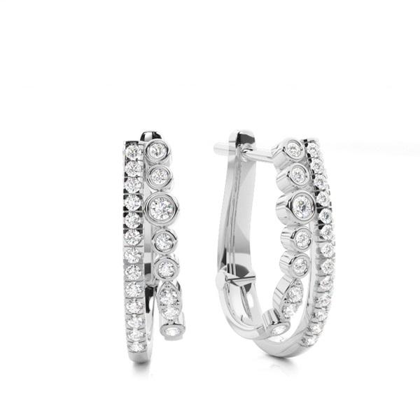 Bezel Setting Round Diamond Hoop Earrings